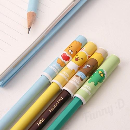 카카오프렌즈 리틀프렌즈 4본 연필캡 세트_(3522275)