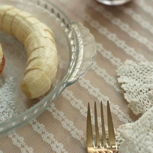 리카 레이스 유리 오븐 원형접시