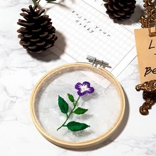 투명 꽃 식물 액자 틀 프랑스자수 패키지 도안 diy 세트 p