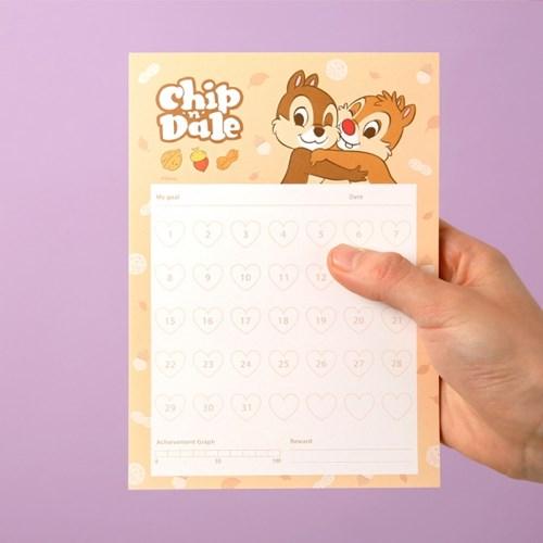 [디즈니] 한달 실천 메모패드 (미키, 푸, 앨리스, 칩앤데일)