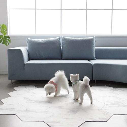 헥사곤 대리석 픽 모듈 미끄럼방지 강아지매트