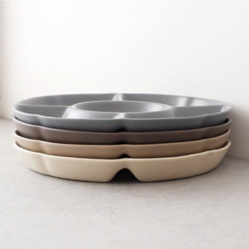 심플 무광 도자기 나눔접시 (도자기 원형 나눔플레이트) 5칸