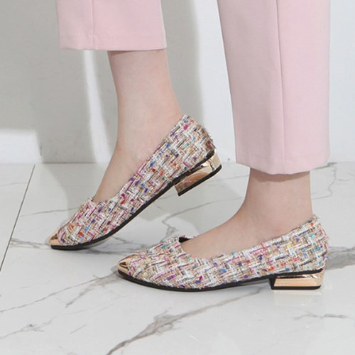 kami et muse Gold toe color tweed flat_KM19w093