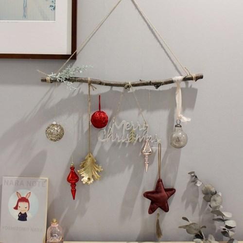 해피 크리스마스 오너먼트 가랜드_자작나무50cm