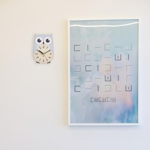 [BEZIT] 아이방 인테리어 교육용 무소음 탁상시계-부엉이