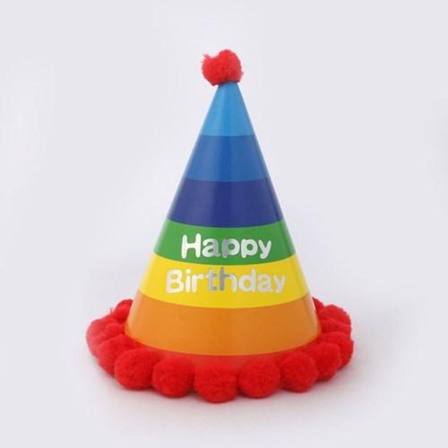 레인보우 생일 꼬깔모자/ 파티용 생일모자