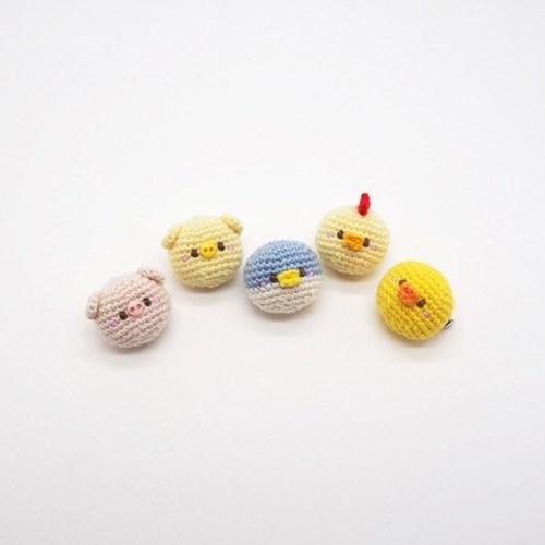 오리 펭귄 닭 손뜨개 브로치 뱃지