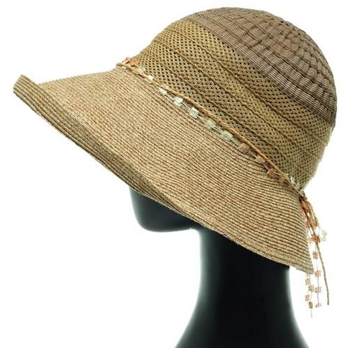 [플릭앤플록]ICP10.테입배색 밀짚 여성 큰챙 여름 모자