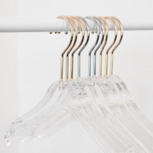 의류매장 모던 양복 상하의정리 아크릴 투명옷걸이 바지집게걸이