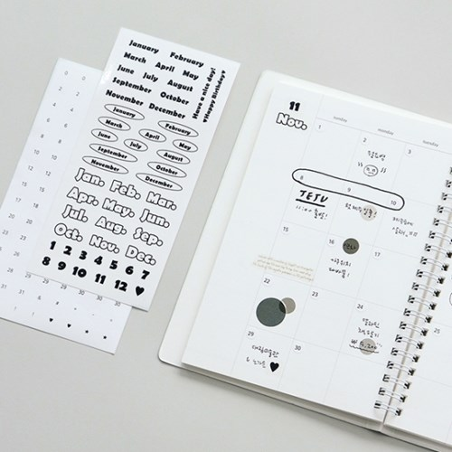 [SET] 기본 스티커 1000 (9종)-날짜/요일/월