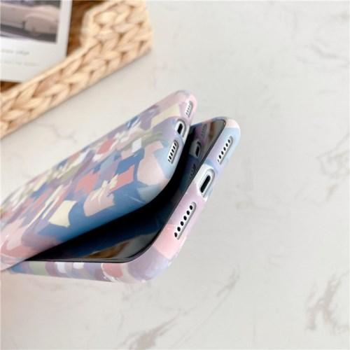 블루핑크 브러쉬터치 실리콘 풀커버 카메라보호 아이폰케이스