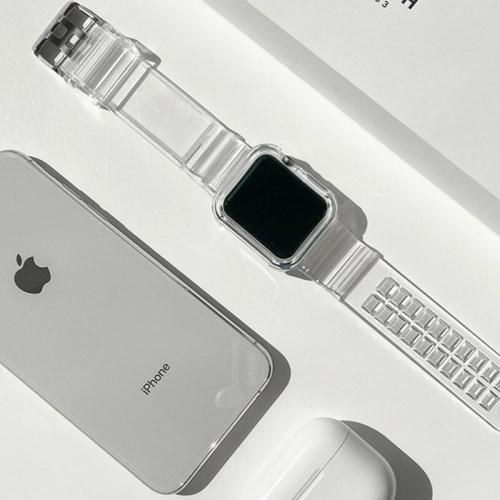 화이트투명 애플워치 실리콘 스트랩밴드