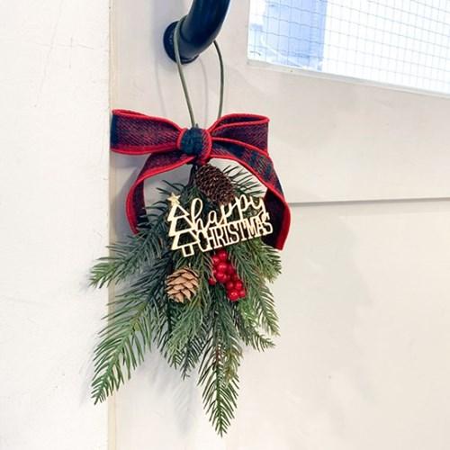크리스마스 체크리본 리스 S