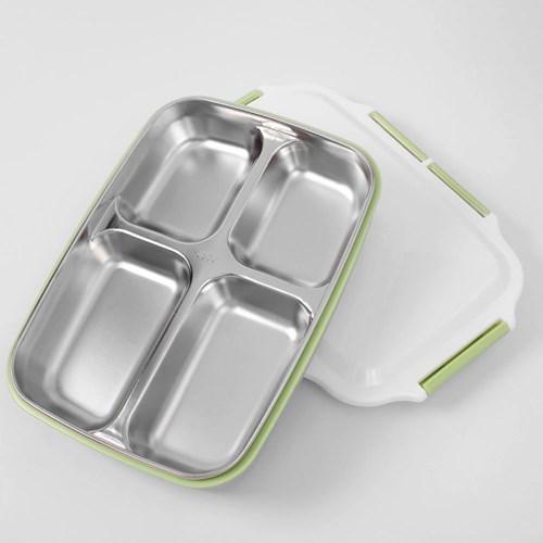 쿠킹박스 4구 스텐 식판도시락(26.5x19.5cm) (그린)
