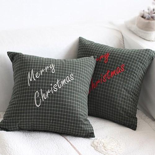 크리스마스 겨울 체크 쿠션커버 모음 택1_(2106980)