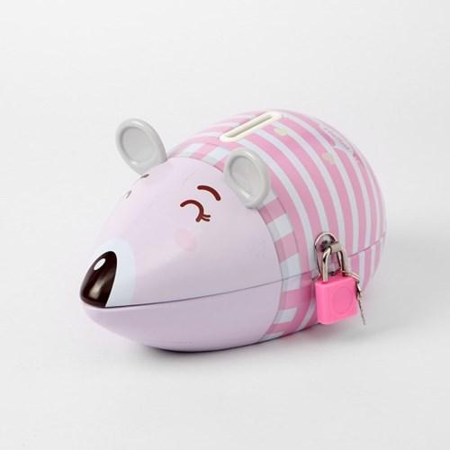 양철 쥐 저금통(핑크) / 틴케이스 자물쇠저금통