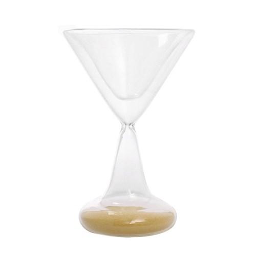 와인잔타임 유리 모래시계(골드) 5분 타이머