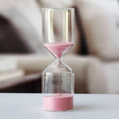 유리 인테리어 모래시계(핑크) 15분타이머 인테리어