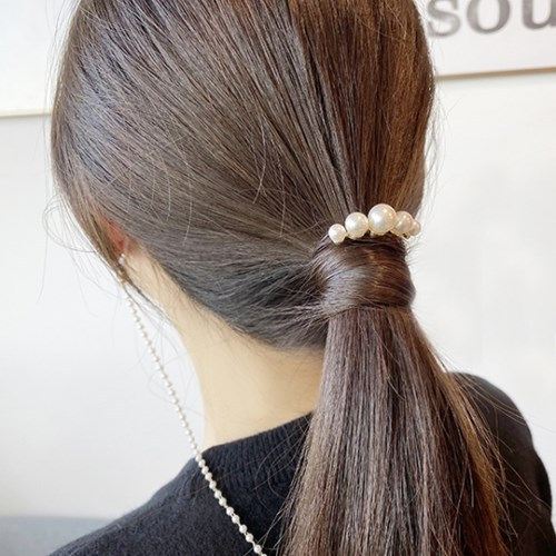 [드앙땅] 진주 머리끈 미니비녀 뒤꽂이 헤어핀 포니테일머리끈