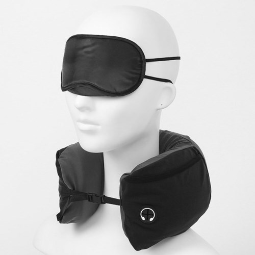 4in1 여행용 메모리폼 목쿠션 안대 귀마개 세트 블랙