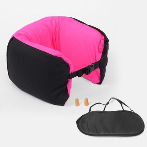 4in1 여행용 메모리폼 목쿠션 안대 귀마개 세트 핑크