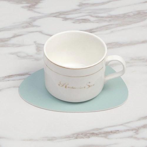 페블 양면 가죽 컵받침 4p세트(스카이+실버)