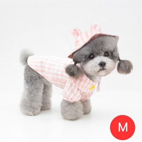 체크노랑오리 강아지 셔츠 모자포함 핑크 M