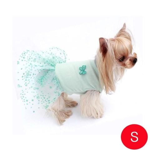 강아지 면스판 튜튜 드레스 민트 S