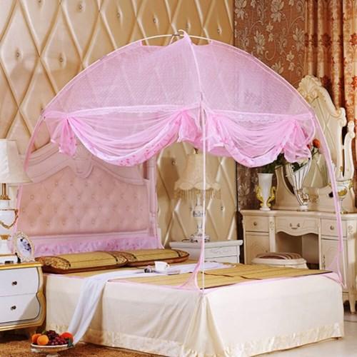 유니룸 돔형 사각 모기장(핑크) / 3인용 침대모기장