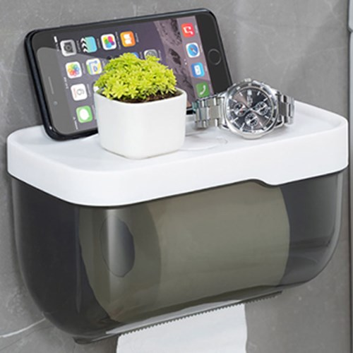 무타공 접착식 반투명 화장실 휴지걸이 대형 키친타올 욕실 케이스