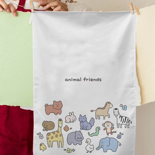 Animal Friends 일러스트 패브릭포스터