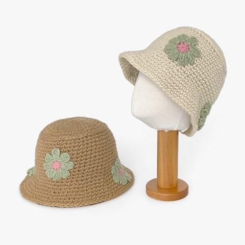 포인트 꽃 자수 니트 플로피햇 벙거지 버킷햇 모자