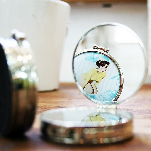 휴대용 가방걸이 업그레이드 Vol.2 - 콤팩트거울형 : 아쿠아블루