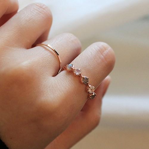 래브라도라이트 미니멀 로즈 반지 labradolite minimal rose ring