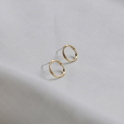 twist circle earrings (2colors)
