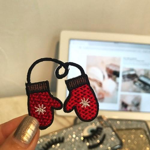 빨간 벙어리 장갑 크리스마스 와펜스티커