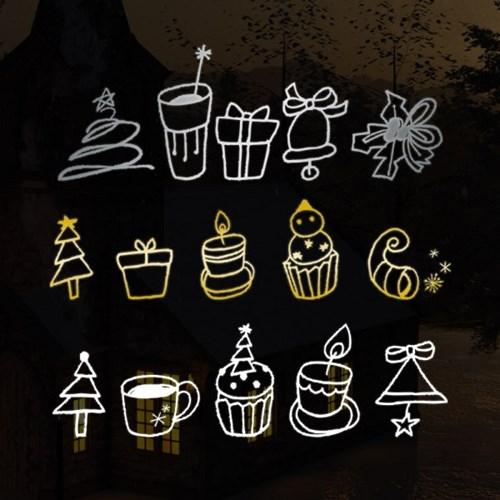 1AM 크리스마스 데코 스티커 온누리에 눈꽃 시트지_(1244787)