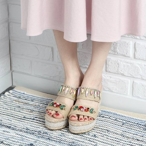 kami et muse Jewel beads espadrille wedge heel slippers_KM19s172
