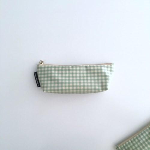 민트 체크 필통(Mint check pencil case)