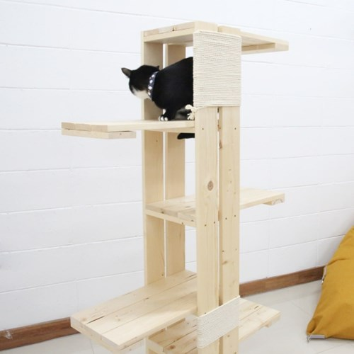 고양이 원목 캣타워 DIY 스크래처 장난감 고양이용품