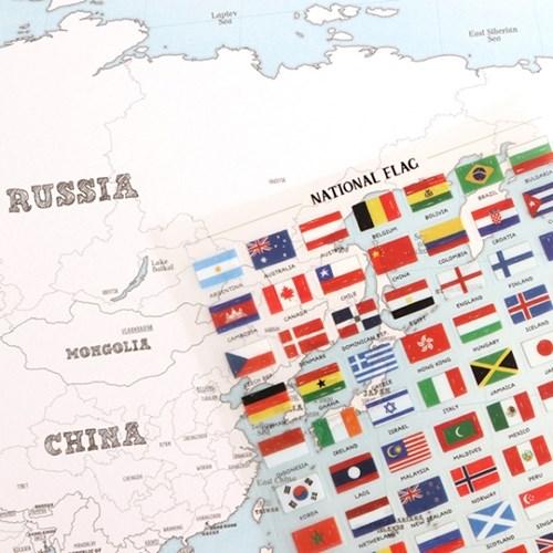 스티커 컬러링 세계지도(지도2장+스티커8장)