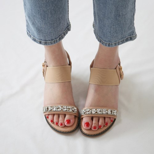 kami et muse Clear jewel cubic wedge sandals_KM19s347