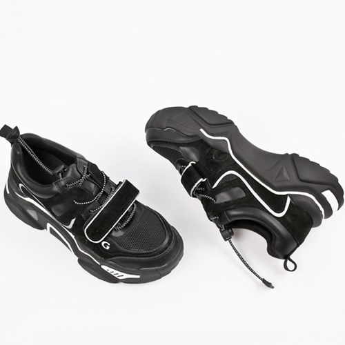 kami et muse Velcro strap leather ugly sneakers_KM19w142