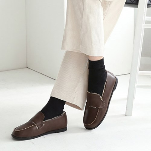 kami et muse Fine stitch fur loafers_KM19w206