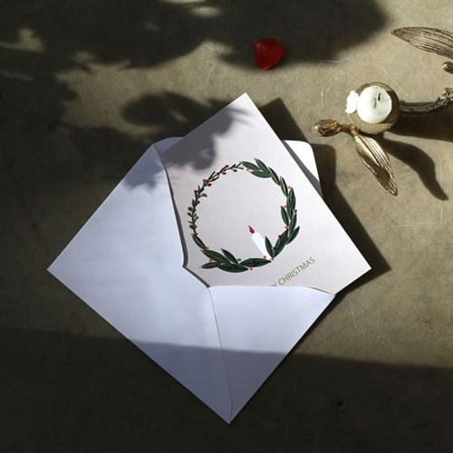 캔들리스 크리스마스 카드 2장 세트 : 핸드메이드 종이자수 엽서