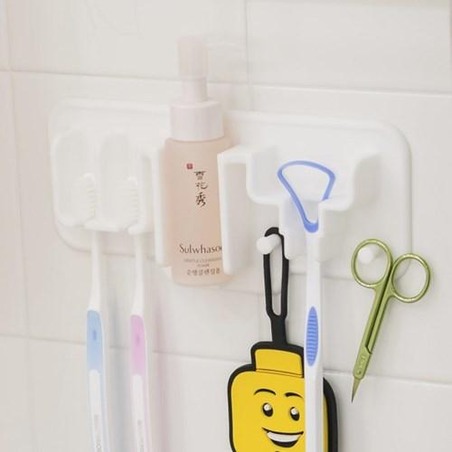 국산 플라이토 실리콘 욕실 심플 칫솔걸이 앤 면도기걸이