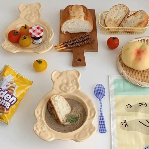 [국내생산/바로배송] 베어볼&베어플레이트 (곰돌이그릇&곰돌이접시)