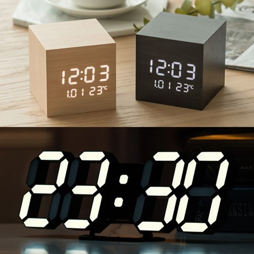 11종 인테리어 LED 탁상시계 디지털 전자 무소음 알람 테이블 책상