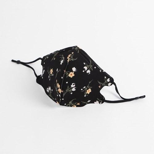 플로랄 입체 패션 마스크(블랙)/ 빨아쓰는 천마스크