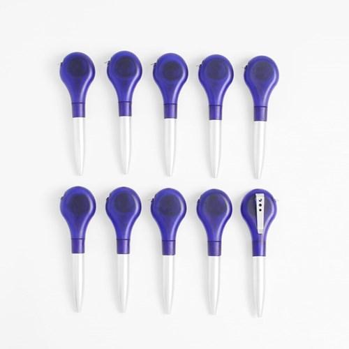 1m 스틸 줄자 볼펜 10p세트(블루)